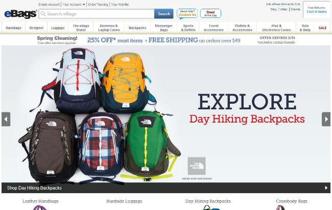 Интернет-магазин Ebags.com