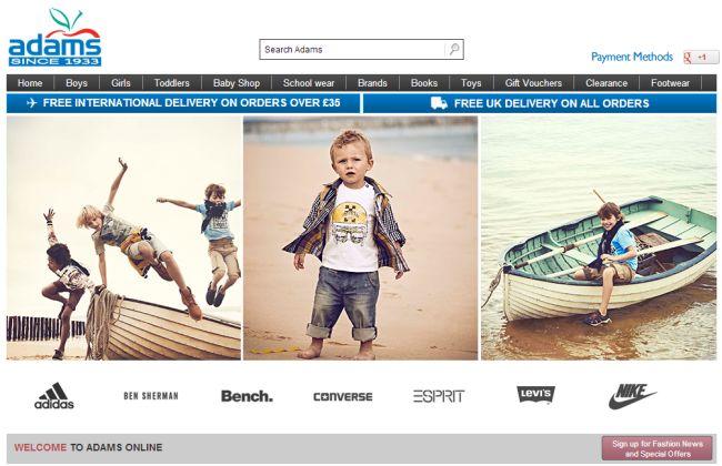 Интернет-магазин Adams.co.uk