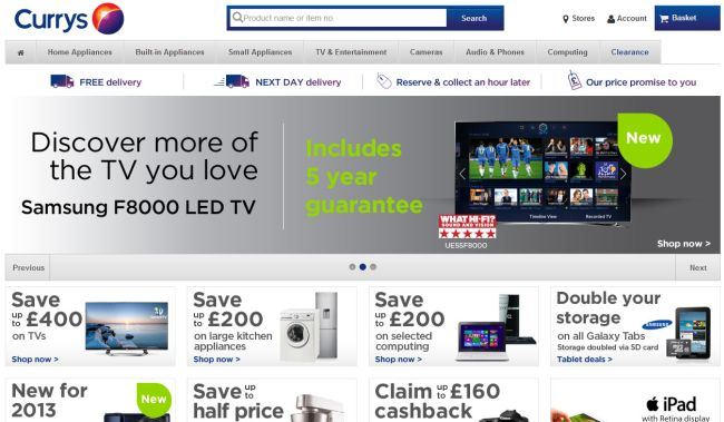 Интернет-магазин Currys.co.uk