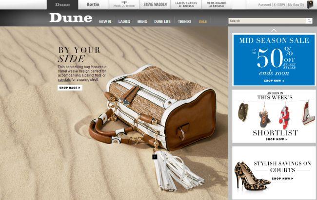 Интернет-магазин Dune.co.uk