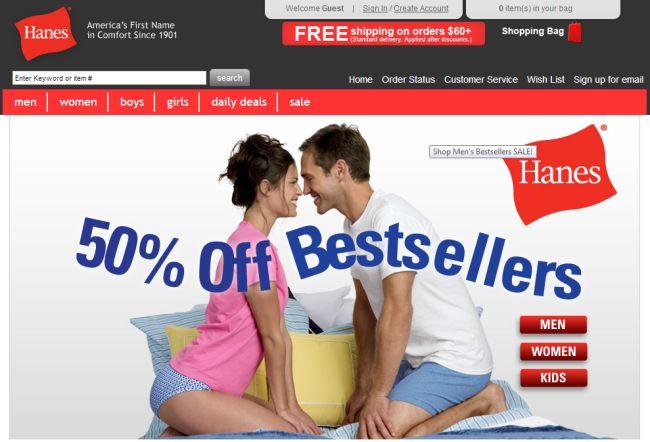 Интернет-магазин Hanes.com