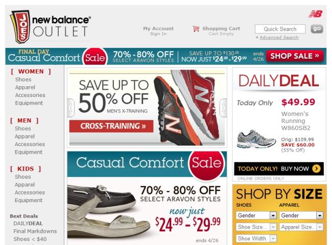 Интернет-магазин Joesnewbalanceoutlet.com