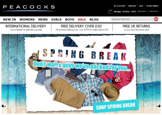 Интернет-магазин Peacocks.co.uk