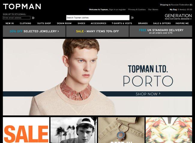 Интернет-магазин Topman.com