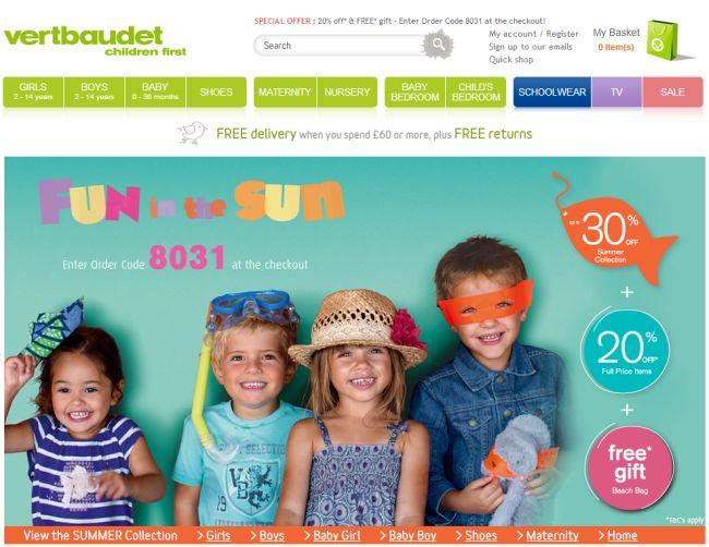 Интернет-магазин Vertbaudet.co.uk