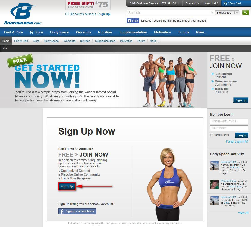 Регистрация на Bodybuilding.com
