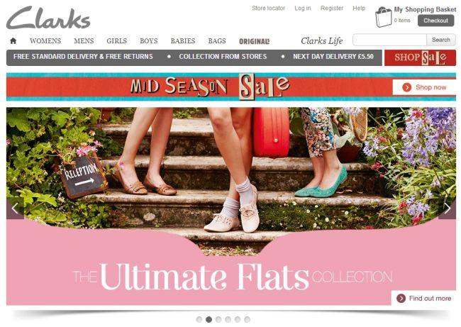 Интернет-магазин Clarks.co.uk
