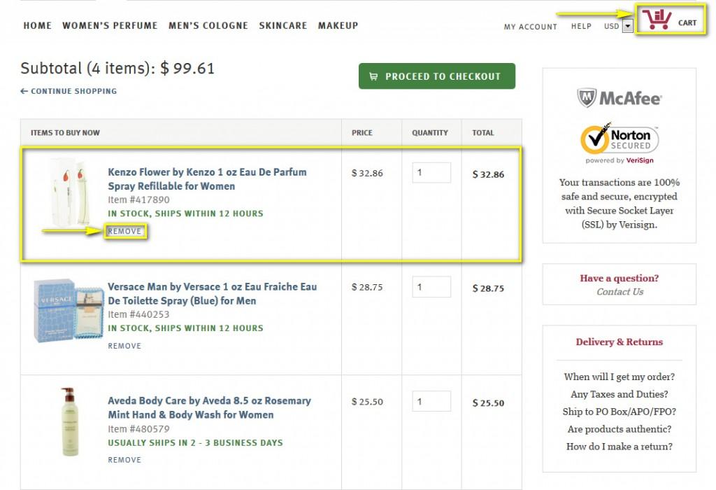 Как отменить заказ на fragrancex.com