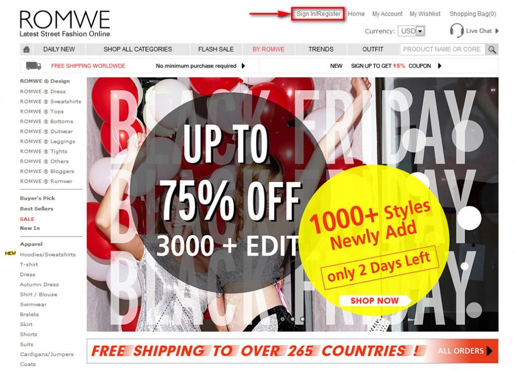 Как зарегистрироваться на Romwe.com