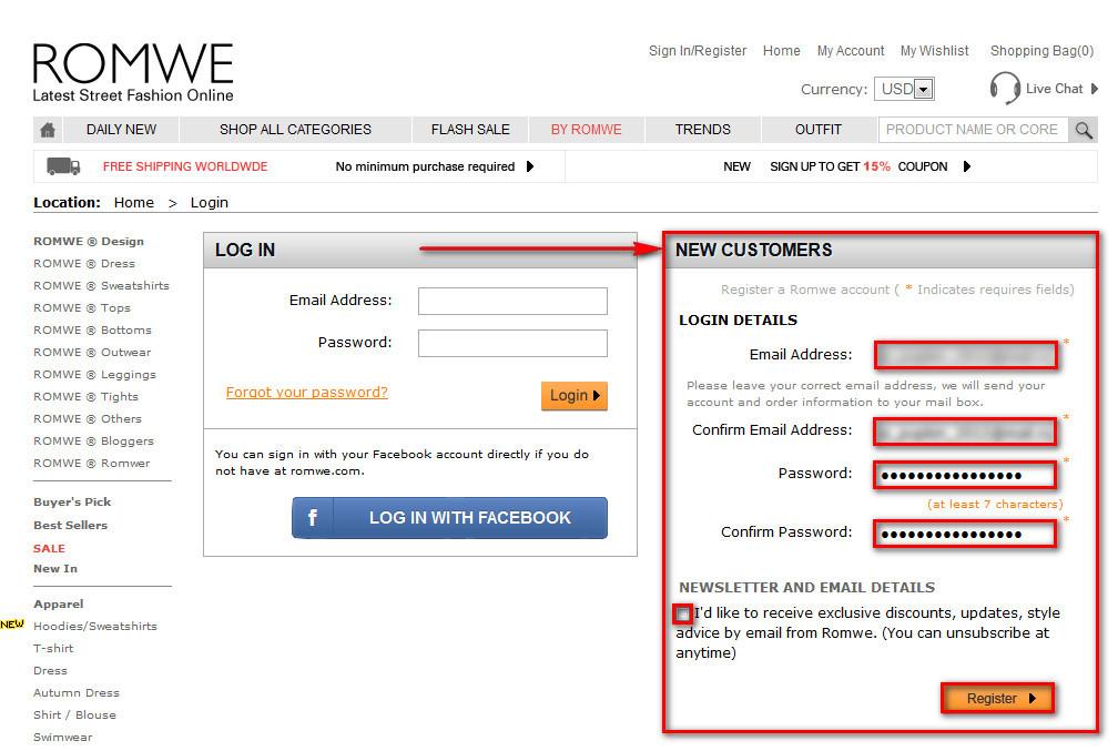 Регистрация на Romwe.com
