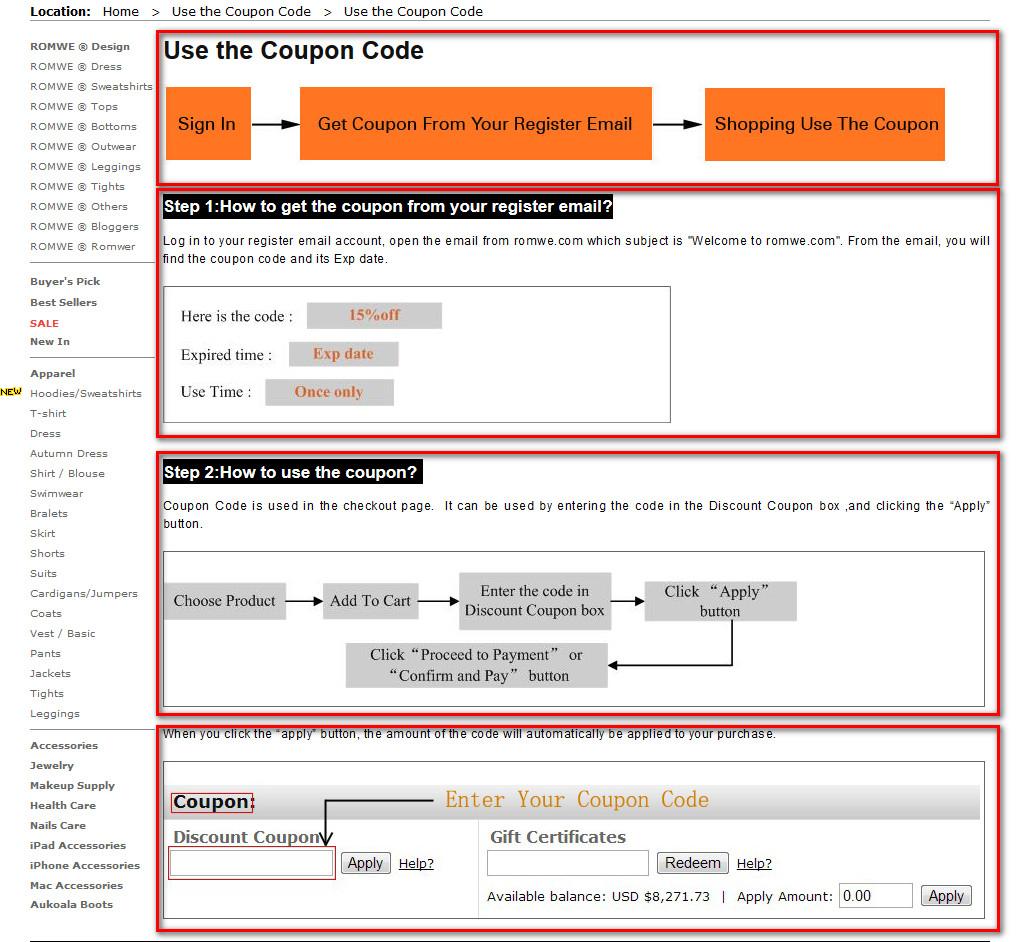 Как использовать купон на Romwe.com