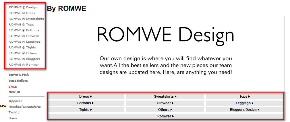 Как найти товар на Romwe.com