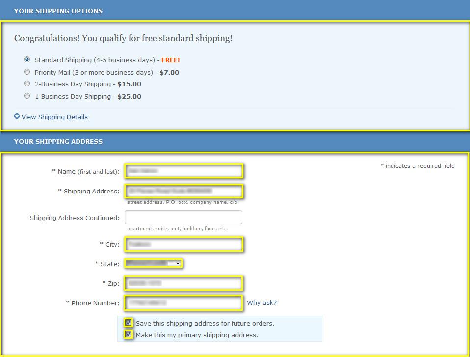 Как заполнить адрес доставки на zappos.com
