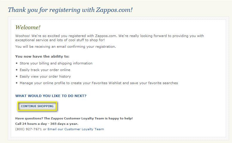 Подтверждение регистрации на zappos.com