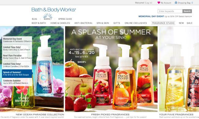 Интернет-магазин Bathandbodyworks.com