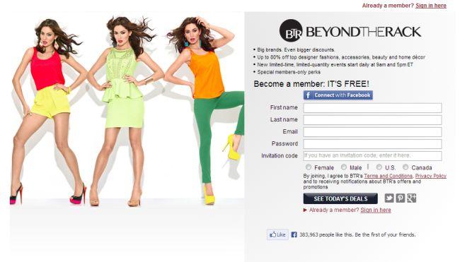 Интернет-магазин Beyondtherack.com