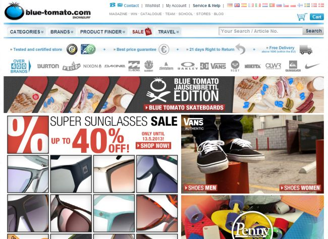 Интернет-магазин Blue-tomato.com