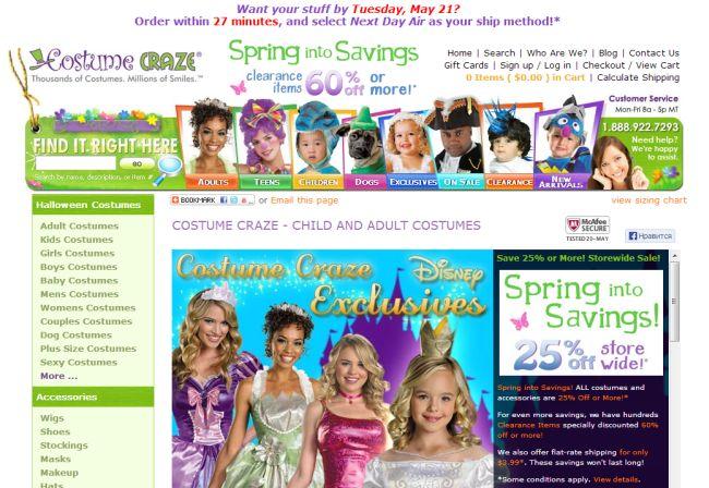 Интернет-магазин Costumecraze.com