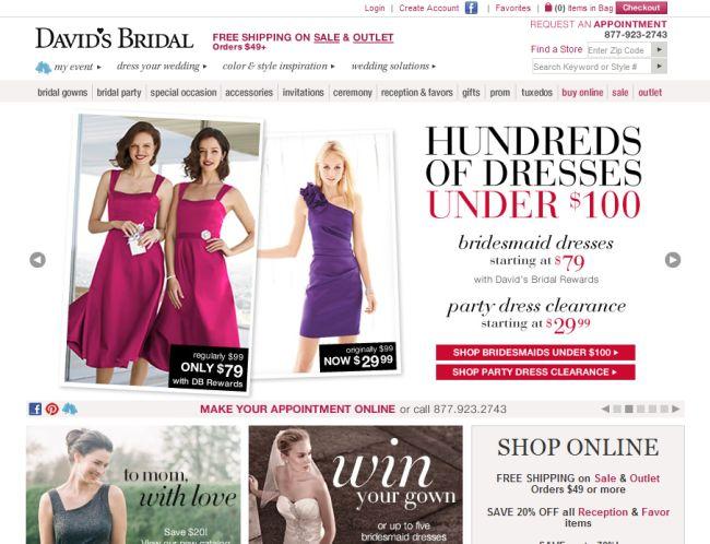 Интернет-магазин Davidsbridal.com