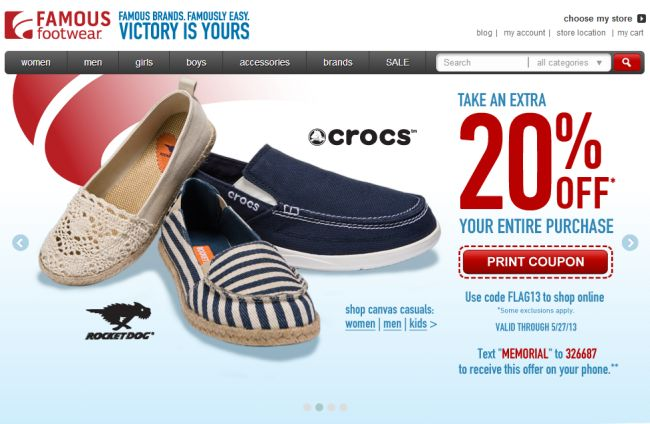 Интернет-магазин Famousfootwear.com