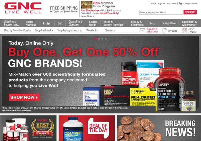 Интернет-магазин Gnc.com