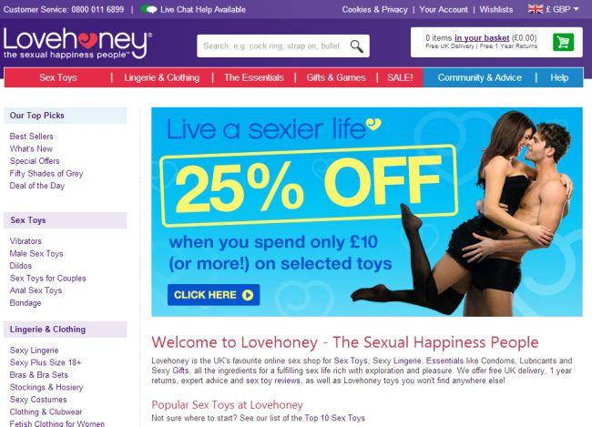 Интернет-магазин Lovehoney.co.uk