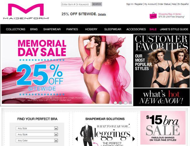 Интернет-магазин Maidenform.com