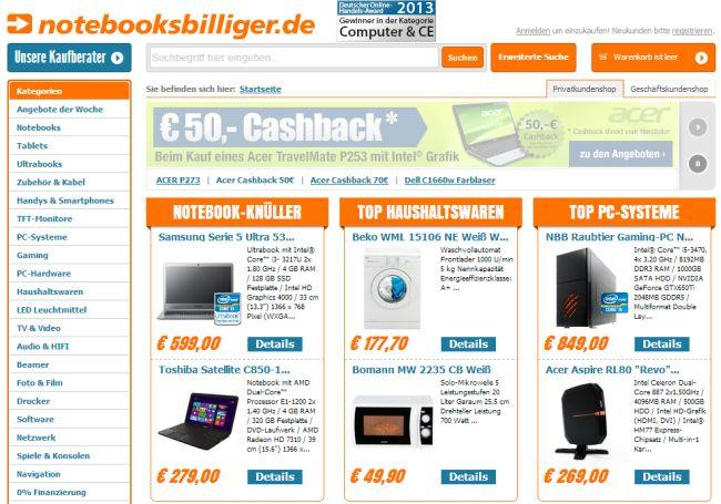 Интернет-магазин Notebooksbilliger.de