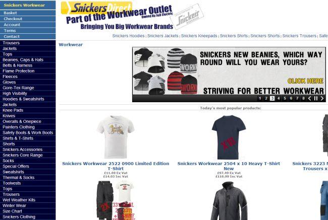 Интернет-магазин Snickersdirect.co.uk