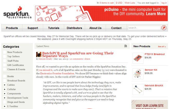 Интернет-магазин Sparkfun.com
