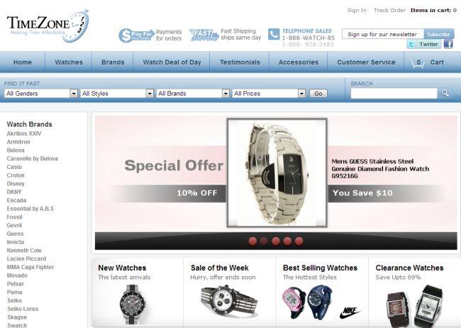 Интернет-магазин Timezone123.com