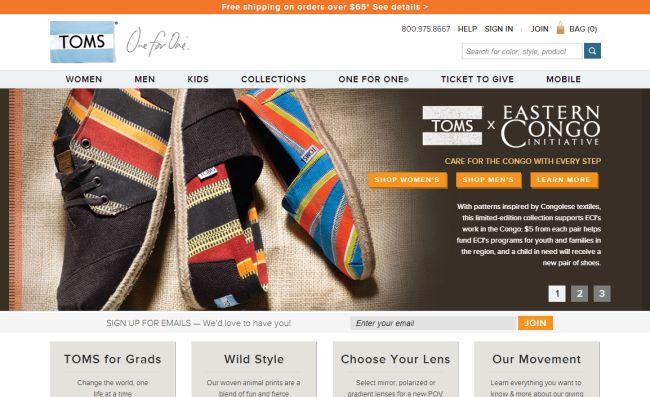 Интернет-магазин Toms.com