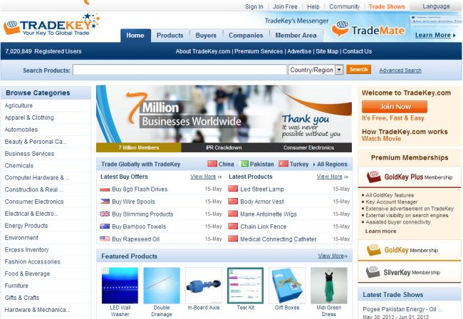 Интернет-магазин Tradekey.com