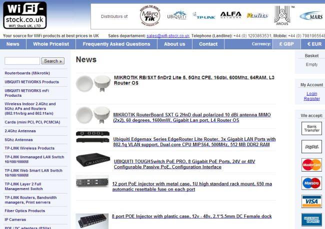 Интернет-магазин Wifi-stock.co.uk