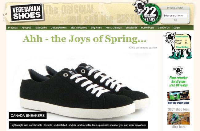 Интернет-магазин Vegetarian-shoes.co.uk