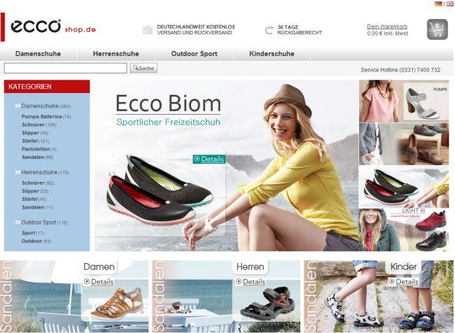Интернет-магазин Eccoshop.de