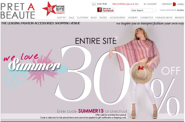Интернет-магазин Pret-a-beaute.com