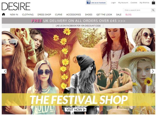 Интернет-магазин Desireclothing.co.uk