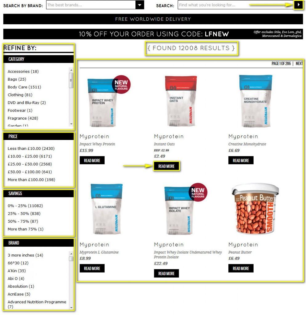 Как найти товар на lookfantastic.com