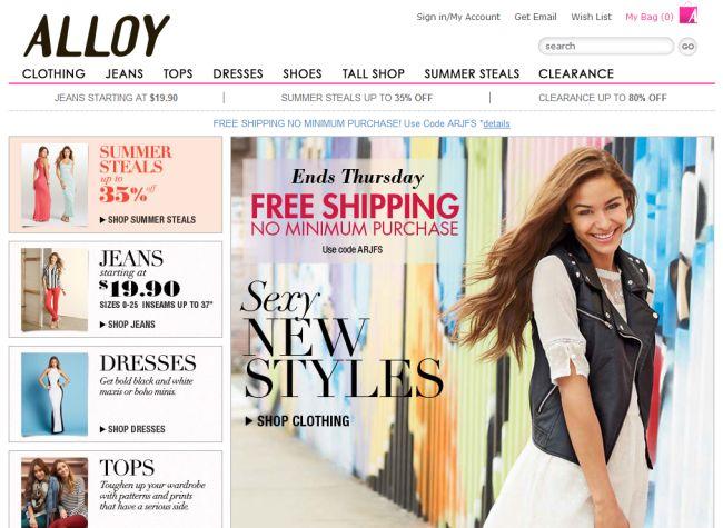 Интернет-магазин Alloyapparel.com