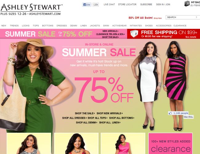 Интернет-магазин Ashleystewart.com