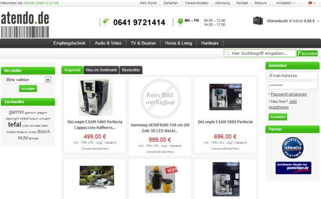 Интернет-магазин Atendo.de