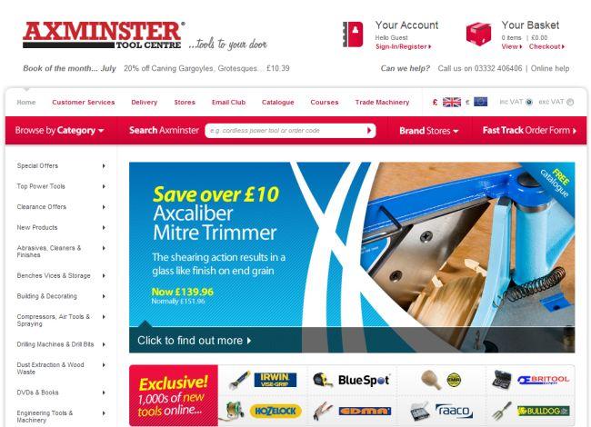 Интернет-магазин Axminster.co.uk