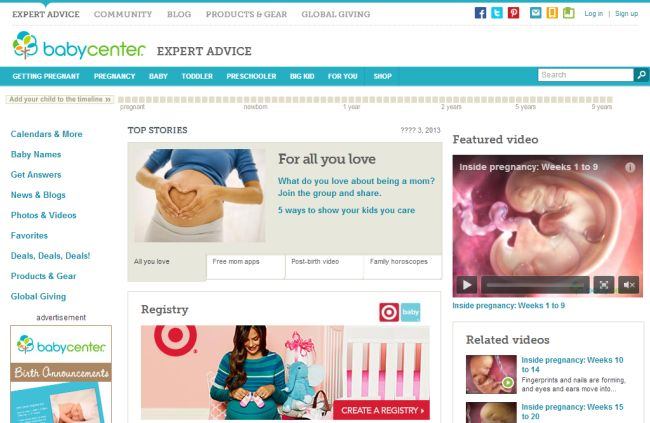 Интернет-магазин Babycenter.com