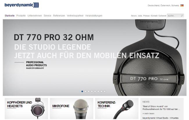 Интернет-магазин Beyerdynamic.de