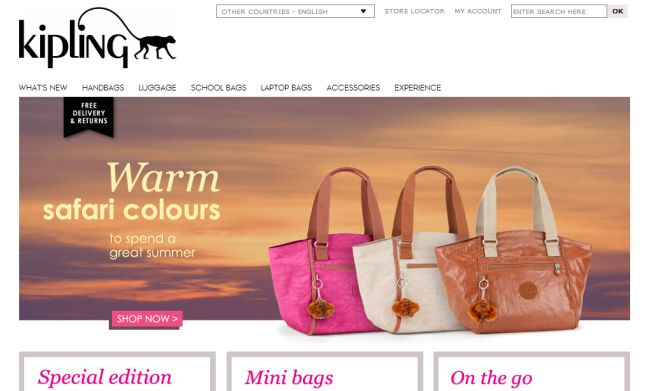 Интернет-магазин Kipling.com