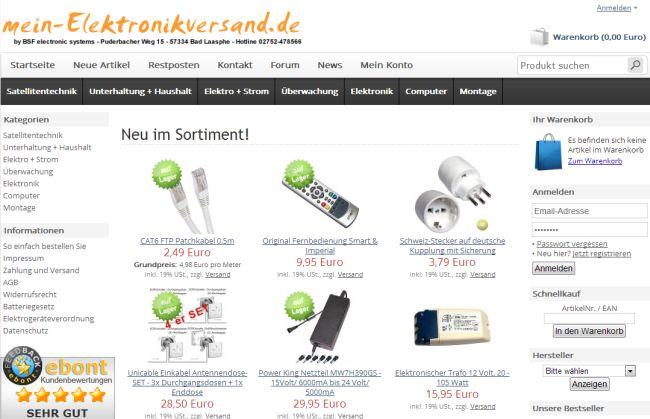 Интернет-магазин Mein-elektronikversand.de