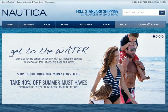 Интернет-магазин Nautica.com