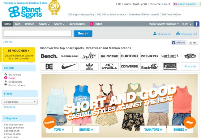 Интернет-магазин Planet-sports.com