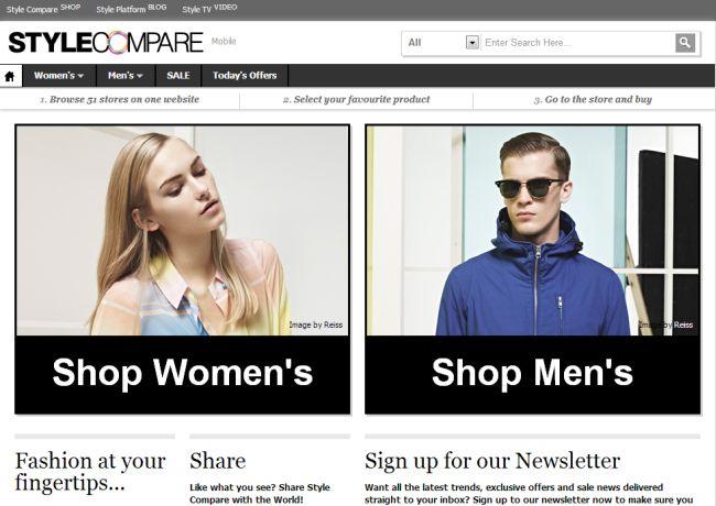 Интернет-магазин Stylecompare.co.uk